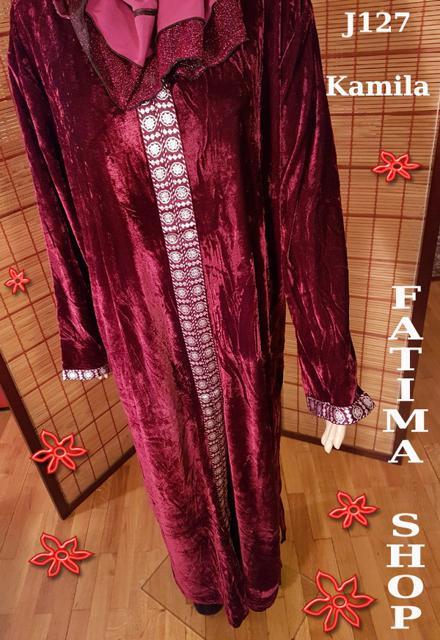 finest selection d2528 6aef6 J127 - Jellaba con cappuccio in velluto color AMARANTO ...